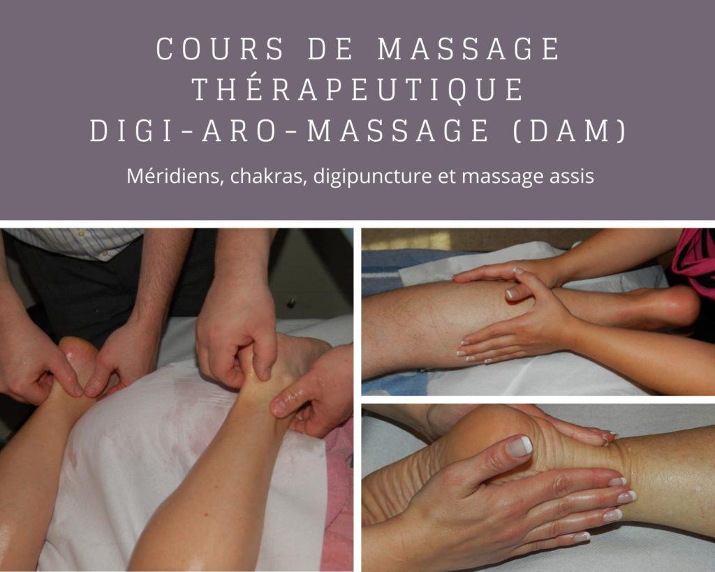 Cours massage thérapeutique méridiens, chakras, digipuncture et massage assis - Formation complète