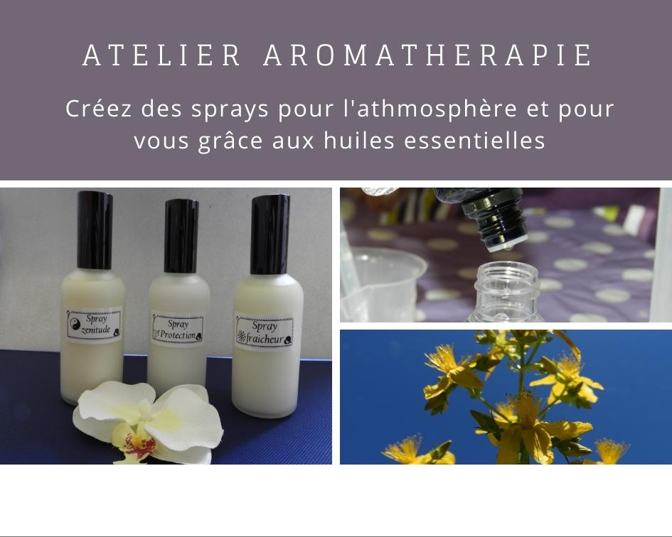 Cours aromathérapie sprays huiles essentielles